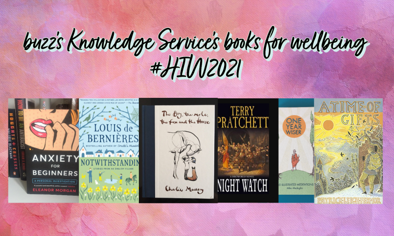 buzz's Knowledge Service share their books for wellbeing this #HIW2021